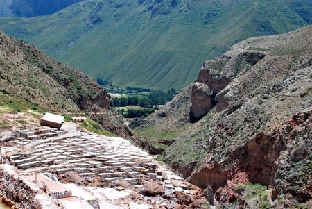 Salt Ponds in Maras in the Urubamba Valley near Cuzco, Peru Stock Photo