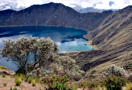 View of Quilotoa a water filled caldera in the west of Ecuador