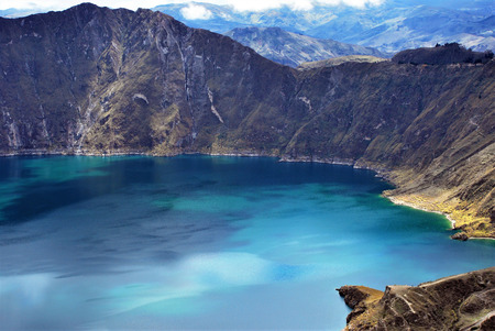 Scenic view of Quilotoa a water filled caldera in the west of Ecuador