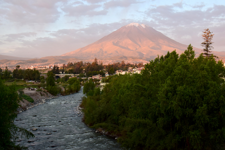 Volcano at sunset in Arequipa, Peru