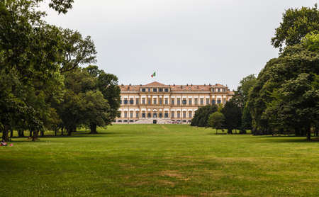 Frontal View of royal villa in the city of monza. Lombardy. Italy. Stock Photo