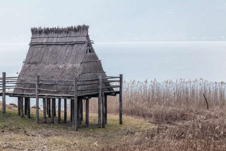 Reconstruction of a prehistoric palafitte house from neolithic age
