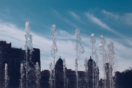 Detail of water on the Beautiful fountain at Plaza Catalunya or Catalonia Square in Barcelona at sunny summer day, Catalonia, Spain Imagens