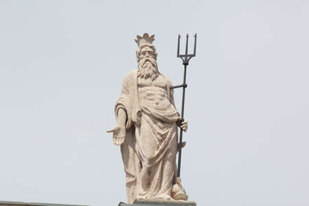 Statue of the Sea God with trident somewhere in Italy Archivio Fotografico