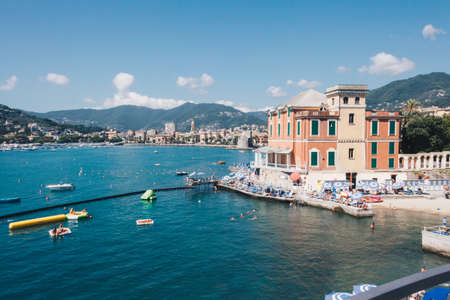 shoreline of Rapallo during summer season in a sunny day - Italy 1 写真素材