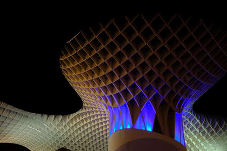 Metropol parasol at night with blue light - Modern architecture in low light situation - April 2019 Seville - Spain Editöryel