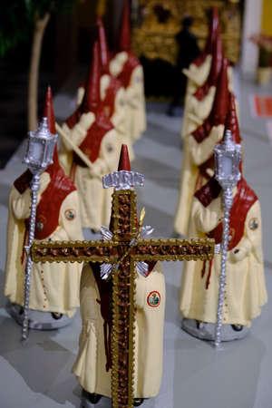 April 2019 Seville - Spain - Religion - reproduction model of Catholic procession