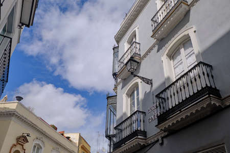 Typical decorated facade in Seville, Andalusia, Spain