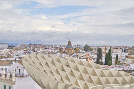 April 2019 - Seville SPAIN - Skyline of the city (capital of Andalusia) from the observation deck (Metropol Parasol) in a cloudy day
