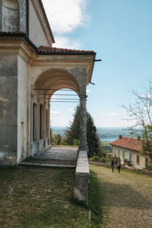 peoples walking along the path of the historic pilgrimage route from Sacred Mount or Sacro Monte of Varese, Italy - Lombardy