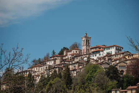 view of the old village along the path of the historic pilgrimage route from Sacred Mount or Sacro Monte of Varese, Italy - Lombardy