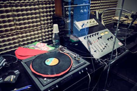 Milan Italy April 2019 - Museum of technology Leonardo da Vinci - Vintage radio studio