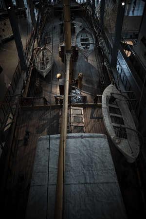 Milan Italy April 2019 - The Ebe training ship exhibited at Museum of technology Leonardo da Vinci - Aerial view of old galleon (Nave Scuola - brigantino - goletta Ebe varato) Editorial