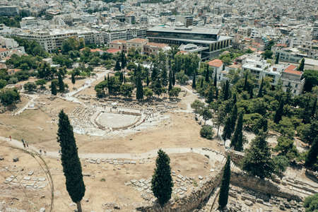 aerial view ancient ruins in the Acropolis area in a sunny day in the capital of Greece - Athens - travel destination concept