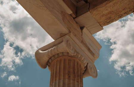 view from below of close up details temple in the Acropolis area in a sunny day in the capital of Greece - Athens