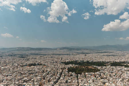 panorama of athens in a sunny day in the capital of Greece Фото со стока