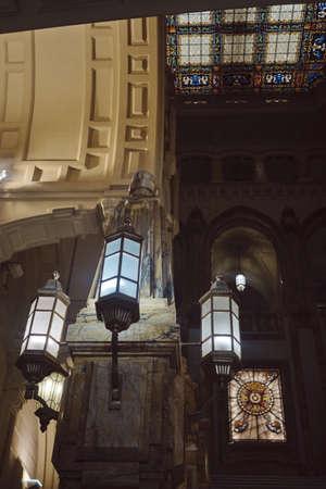 SEPT 2019 . NAVAL MUSEUM entrance close-up with lamps - Escaleras Museo Naval de Madrid. SPAIN.