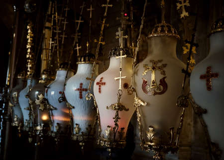 Decorated Vase close up at the Church of the Holy Sepulcher - Stone of Unction in Jerusalem, Israel Reklamní fotografie
