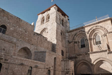 Facade of the Church of the Holy Sepulcher - Stone of Unction in Jerusalem, Israel