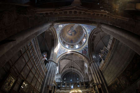 DEC 2019 - ceiling in the Church of the Holy Sepulcher - Stone of Unction in Jerusalem, Israel