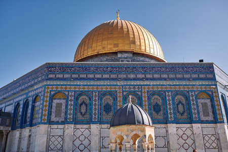 view of Dome of the Rock and Dome of the Chain on the Temple Mount in Jerusalem