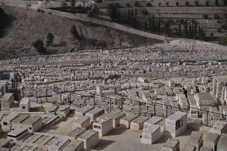 DEC 2019 Cemetery and Jerusalem old city from the Mount of Olives, Israel