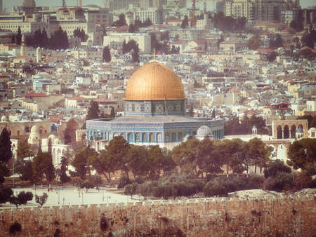 vintage view of Dome of the Rock and Dome of the Chain on the Temple Mount in Jerusalem.
