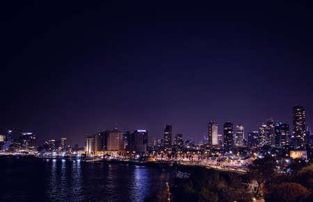 skyline city of Tel aviv at night - ISRAEL Stock fotó