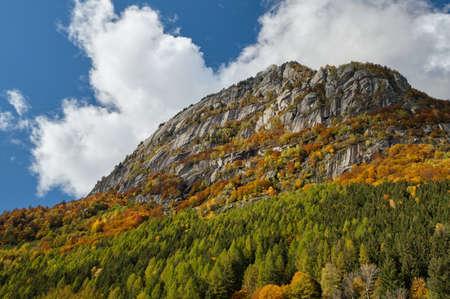 Mountain multicolor woods, in autumn season lake in Val di Mello, Val Masino, Italy