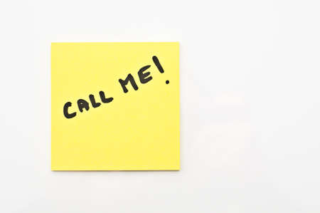 call me: Yellow square Post it with call me written on it
