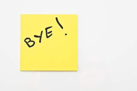 bye: Yellow square Post it with  Bye written on it Stock Photo