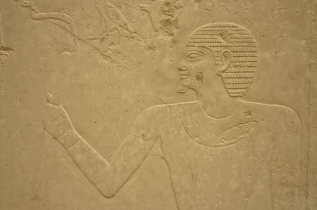 Ancient Egypt hieroglyph writing and sign on stone wall photo
