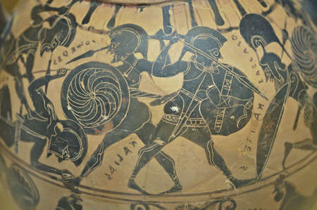 Etruscan decoration on vase found in Italy Imagens