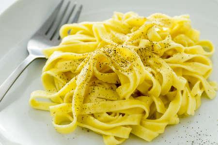 alfredo: Dish of classic Fettucine Alfredo from Rome, Italy.