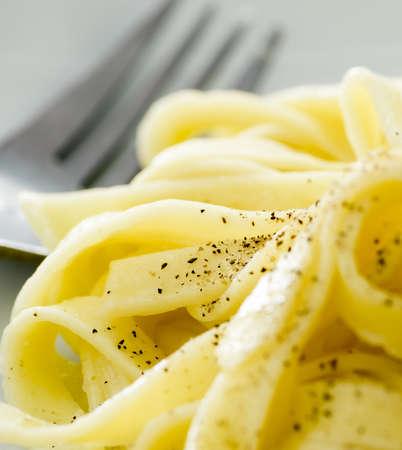 Dish of classic Fettucine Alfredo from Rome, Italy.
