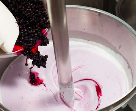 Ice cream preparation with different tools, ingredients, and machines