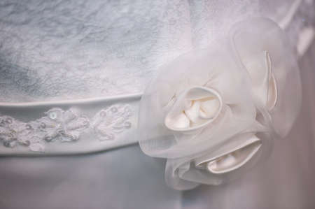 argent: Veil decoration on woman wedding dress Stock Photo