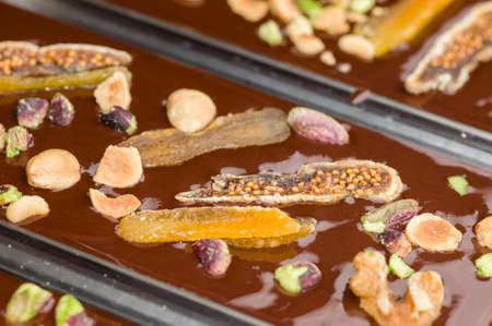 artisanal: Ingredients for preparation of artisanal chocolate bar with dried fruits