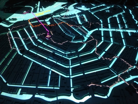 map of amsterdam to the led, with fluorescent blue light.