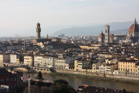 panorama of the roofs of the city of Florence, the Tuscan capital, seen from the top of a small hill.