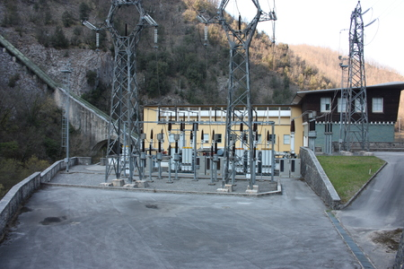 hydroelectric power plant built by man to create clean energy and save. global warming prevention system