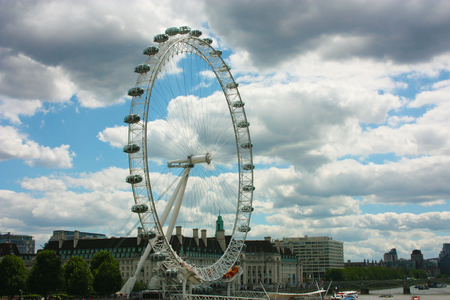 the british london eye of england on the river under a gray and cloudy spring sky