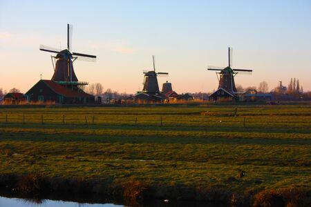 Zaanse Schans and its typical Dutch mills in Netherlands