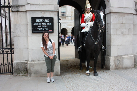 boy on horse in london for change of the royal guard of the queen in london
