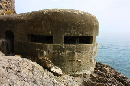 old german bunker from the second world war on a cliff overlooking the sea at cinque terre in monterosso in liguria in italy