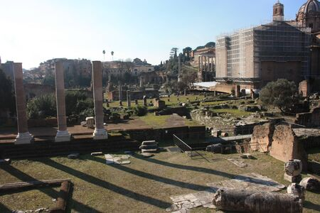 Rome and beautiful historical details in the Imperial Forums in italy
