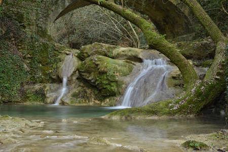 Waterfall in green Stockfoto