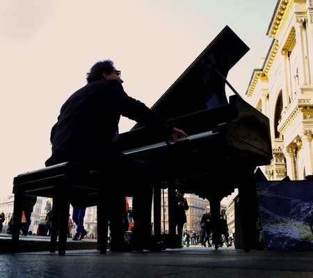 pianist: pianist in the square Stock Photo