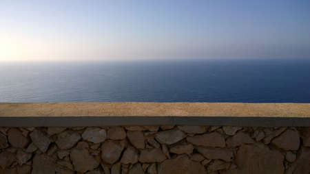 linearity: wall view of the sea horizon