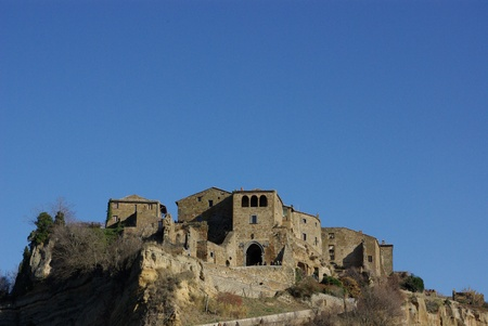 Civita di Bagnoregio is a typical location of Lazio also said the dying town, in fact the village is built on a layer of tufa hill that over the years is crumbling and erosion Stock Photo